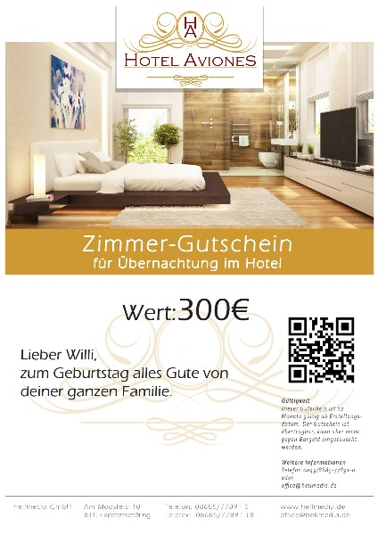 Hotelzimmer Gutschein